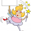 Royalty-Free Stock Vector Image: Cartoon fairy godmother with a sign