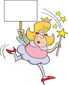 Cartoon fairy godmother with a sign — Stock Vector