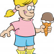 Cartoon girl eating an ice cream cone - Stock Vector