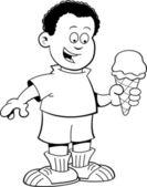 Cartoon African boy eating an ice cream cone — Stock Vector