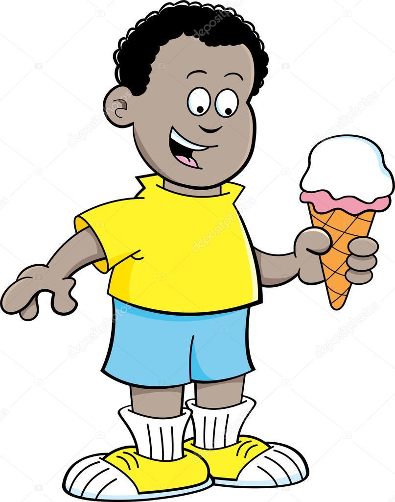 Ragazzo africano dei cartoni animati mangiando un cono
