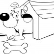 Cartoon dog in a doghouse - 图库矢量图片
