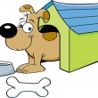 Cartoon dog in a doghouse - Stockvektor