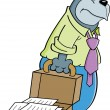 Cartoon gorilla with a briefcase - Vettoriali Stock