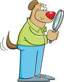 Kreslený pes drží zvětšovací sklo — Stock vektor