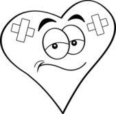 Coeur dessin animé bandée — Vecteur