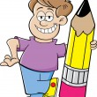 Cartoon boy holding a pencil — Stock Vector #26341883