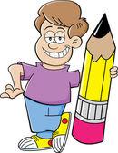 Cartoon boy holding a pencil — Stock Vector