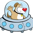 Cartoon dog in a spaceship — Stock Vector