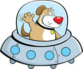 Cartoon dog in a spaceship — Stok Vektör