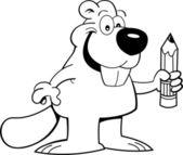 鉛筆を保持している漫画のビーバー — ストックベクタ