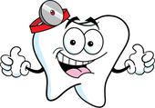 Cartoon tooth giving thumbs up — Vetor de Stock