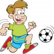 Stock Vector: Cartoon illustration of a boy playing soccer