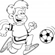 Stock Vector: Black and white illustration of a boy playing soccer