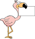 Cartoon flamingo with a sign — Stock Vector