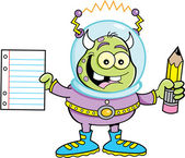 Cartoon alien holding a paper and pencil — Stock Vector
