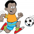 Cartoon African boy playing soccer — Stock Vector #29367091
