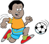 Cartoon African boy playing soccer — Stock Vector