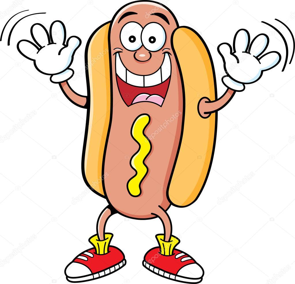 Hot Dog Cartoon raising hands — Stock Vector © kenbenner ...