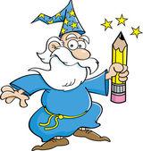 Cartoon wizard with a pencil — Stock Vector