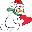 Cartoon running snowman holding a heart — Cтоковый вектор #30263669