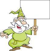 Cartoon wizard with a sign — Stock Vector