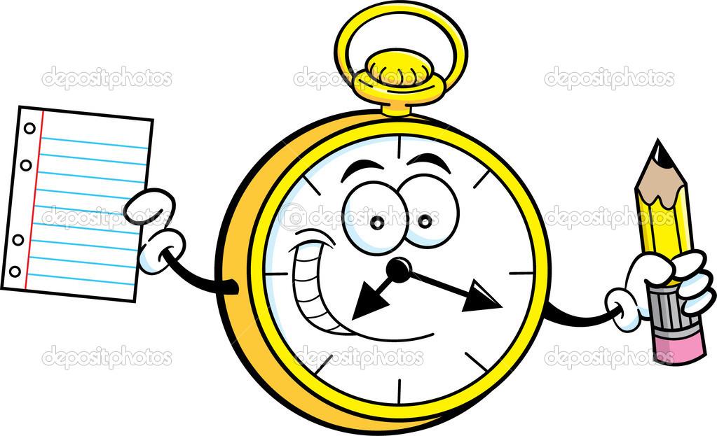 Reloj de dibujos animados sosteniendo un l piz y papel for Imagenes de relojes