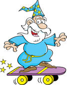 Cartoon wizard riding a skateboard — Stock Vector