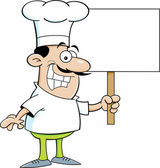 Cartoon chef holding a sign — Vector de stock