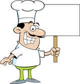 Cozinheiro chefe dos desenhos animados, segurando um cartaz — Vetorial Stock