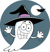 Cartoon ghost wearing a witch's hat — Stock Vector