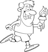 Cartoon Running Man with a Torch (Black & White Line Art) — Stockvector