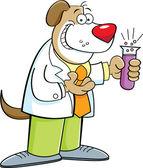 Cartoon Dog Holding a Test Tube — Stock Vector
