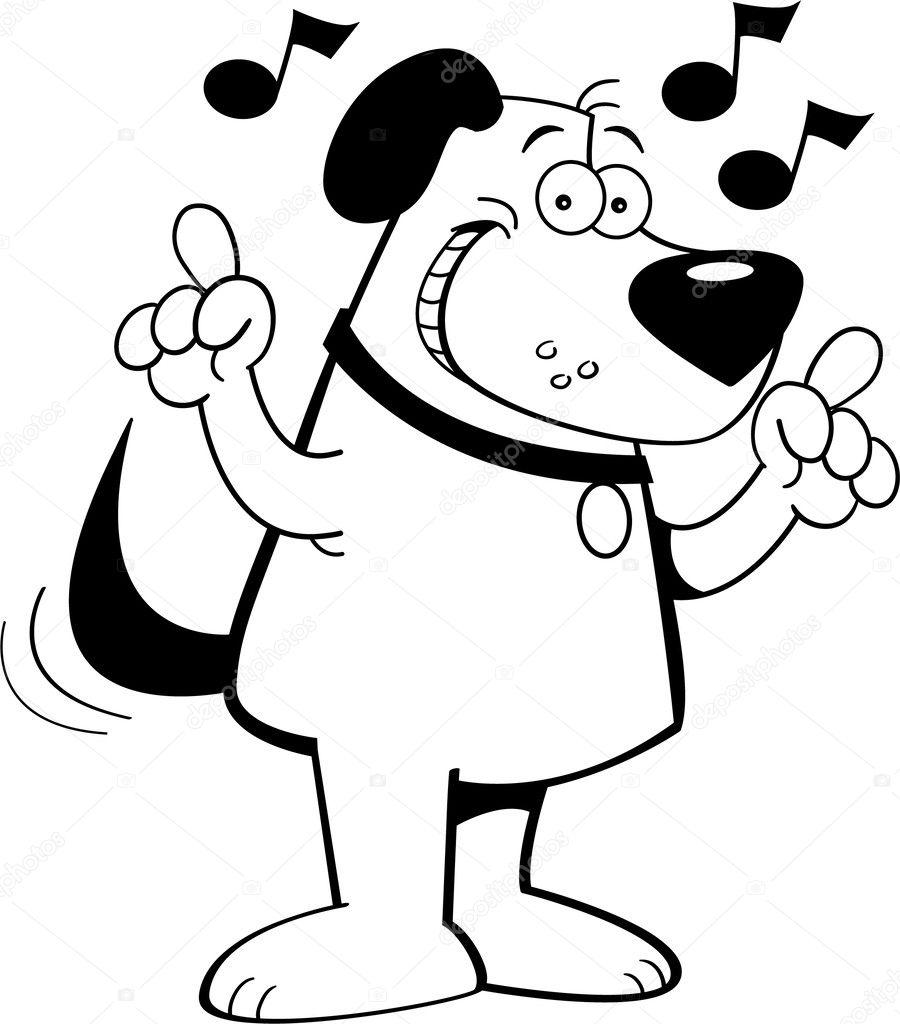 黑色和白色的狗听音乐的插图– 图库插图
