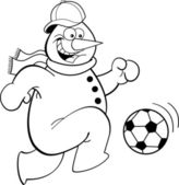 Cartoon snowman playing soccer — Vector de stock