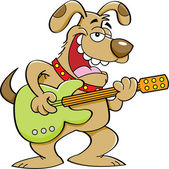 Cartoon Dog Playing a Guitar — Stock Vector