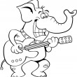 Cartoon elephant playing a guitar. — Stock Vector #37640271