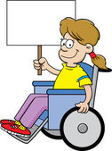 Cartoon girl in a wheelchair holding a sign. — Stock Vector