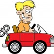Stock Vector: Cartoon boy with a toy car.