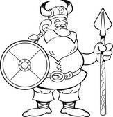 Cartoon viking holding a shield and a spear. — Stock Vector