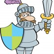 Cartoon knight with a sword and shield — Stock Vector