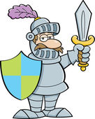 Cartoon knight with a sword and shield — Stockvektor