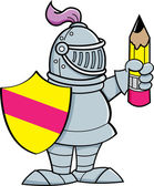Cartoon knight holding a shield and a pencil — Stock Vector