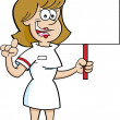 Cartoon nurse holding a sign. — Stock Vector #46350595