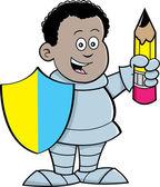 Cartoon boy dressed as a knight — Stock Vector