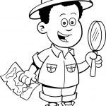 Cartoon African boy explorer — Stock Vector #47084623