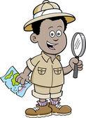 Cartoon African boy explorer — Stock Vector