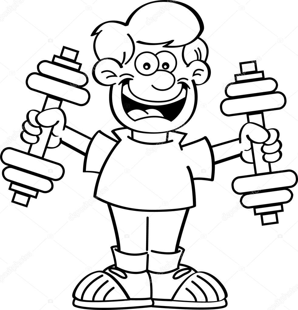 Niño de dibujos animados haciendo ejercicio — Archivo ...