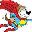 Cartoon dog dressed as a super hero. — Stock Vector #50306047