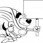 Cartoon superhero dog with a sign. — Stock Vector